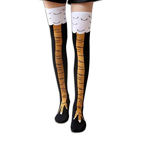 Xiang Frauen Chicken Cluck Beine Knie Hohe Socken Baumwolle Elastische Oberschenkel Hohe Strümpfe