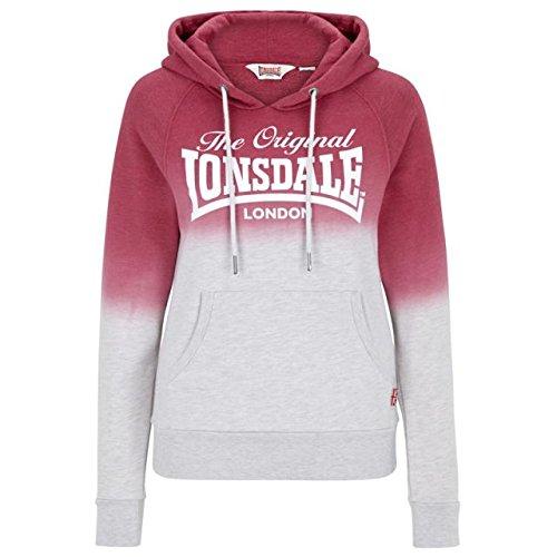 Lonsdale Kapuzensweatshirt Silverton Rot/Grau Meliert S (S Damen Pullover 1960)