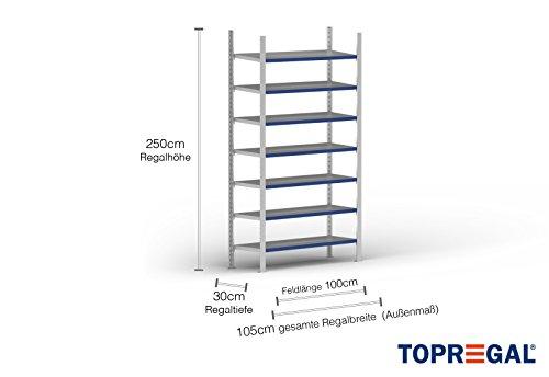 1m Ordnerregal 250cm hoch / 30cm tief mit 7 Ebenen inkl. Stahlböden, Fachlast: 100kg