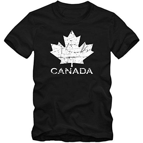 Kanada Ice Hockey T-Shirt |Herren | Ahornblatt | Eishockey WM 2015 Canada | CAN |Vintage | 100 % Baumwolle | XS-5XL, Farbe:Schwarz (Deep Black L190);Größe:S (Vintage-hockey-t-shirts)