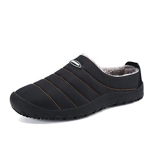 Voovix Herren Damen Winter Hausschuhe Plüsch Warm Gefüttert House Slippers Rutschfeste Wasserdicht Freizeitschuhe Indoor Outdoor Schuhe