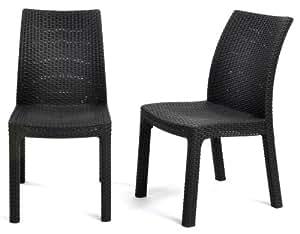 Keter 17192299 Stuhl Milan, Dining Chair, Rattanoptik, Kunststoff, 2-er Set, anthrazit
