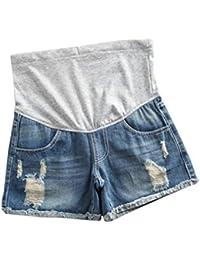 Kunfang Pantalones Cortos de Mezclilla para Mujer Premamá Suelto Casual Encaje Pantalones Cortos de Embarazada Destruido Rasgado Shorts de Vaqueros con Soporte Abdominal
