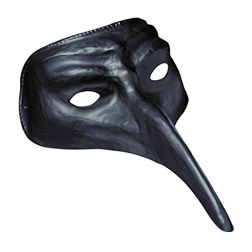 Venezianische Maske Pestmaske schwarz Schnabelmaske schwarzer Tod Augenmaske mit langer Nase Karneval Venedig Rabenmaske Maskenball