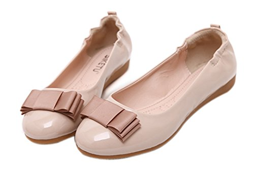 dqq Chaussures de Ballet plat pliable avec nœud pour femme Beige - beige