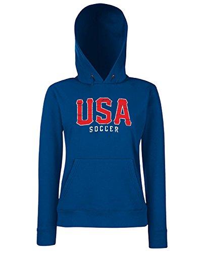 T-Shirtshock - Sweats a capuche Femme WC0629 USA T-SHIRT - USA SOCCER Bleu Navy