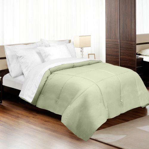 veratex Luxus Soft Moderner Stil 500 Fadenzahl 100% Baumwolle Satin Shell Down Alternative Schlafzimmer Tröster, Full Size, Salbei (Down-alternative Tröster Bettwäsche)