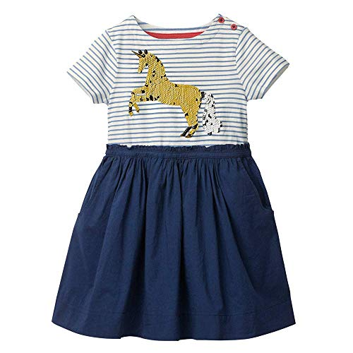 OHBABYKA Cute Baby Girls Casual Baumwolle Tiere gedruckt Streifen Kurzarm Playwear Kleid (2T, 03Horse)