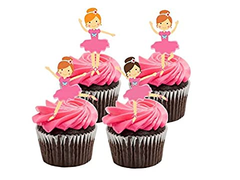 16 x Large Ballerina Ballet Pink Birthday Girl Party STAND UP STANDUPS Fairy Muffin Cup Cake Toppers Decoration Edible Rice Wafer