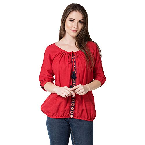 AANIA Beautiful Embroidered Exclusive Casual cotton Women's Top  Red, Small