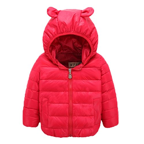 Ohmais Unisex Jungen Mädchen Winter Down Jacket verdickte Winterjacke Jungen Mantel verdickte Trenchcoat Jungen Outerwear mit Kapuzen Rot