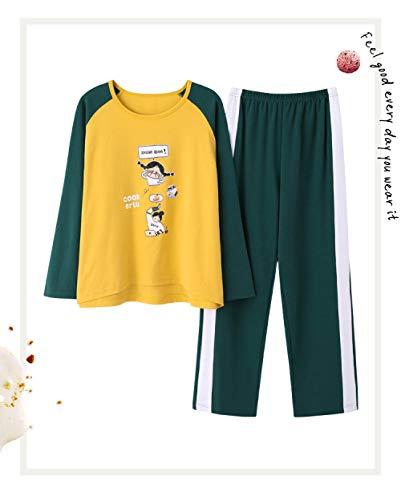 Ensembles de Pyjama,Caractère Coton Femmes Vêtements De Nuit Jaune Ensemble Pjs Pyjama Hauts Manches Longues Col Rond Et Bas Pantalon Vert Vêtements De Nuit Ensemble Loungewear XL