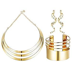 Adramata Bib Choker Halskette Set für Frauen Breite Manschette Armreifen Armbänder Aussage Baumeln Ohrringe Schmuck