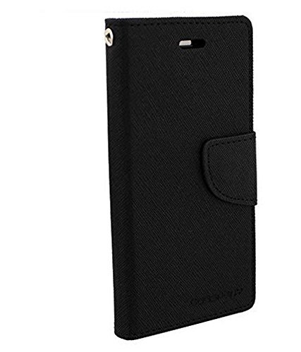 Johra for Samsung Galaxy On8 Luxury Mercury Diary Wallet Style Black Flip Cover Case for Samsung On8 Flip Cover