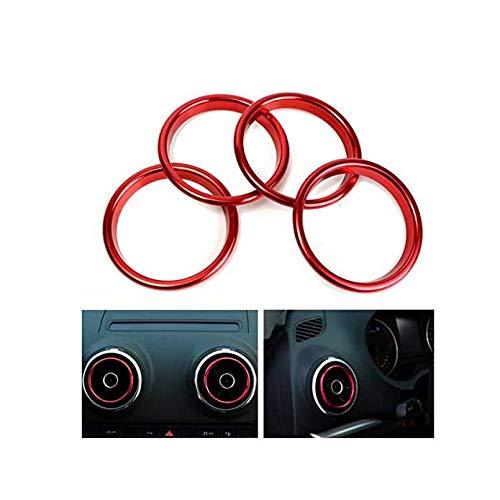 Alamor 4Pcs Anillos Decorativos del Mercado del Acondicionador De Aire Brillante Círculo Rojo para Audi A3