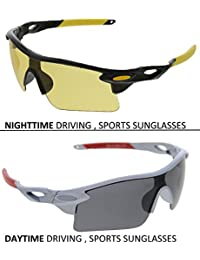 Vast Combo Of 2 Fashion All Day And Night Vision Biking, Driving And Sports Unisex Sunglasses (COMBO_9181_C1_BLK_YELLOW...