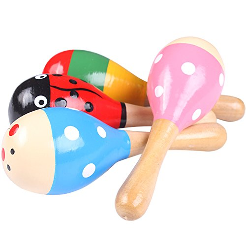 Isuper Holz Rasseln, Holz Maraca Kinder Musik Rasseln Shaker Baby Minirassel, Zufallige Farben Geschickt