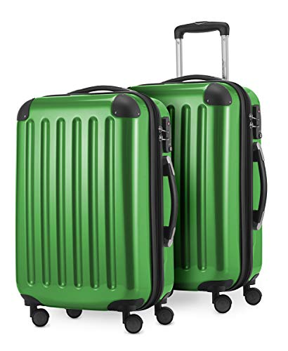 HAUPTSTADTKOFFER® · Set de 2 Valises cabine à coque dure · 45 litres · Serrure TSA (Vert métallique)