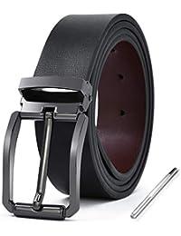 ab19f68ba38 NEWHEY Cinturon Hombre Cuero Piel Hebillas Jeans Reversible Trabajo Traje  Cinturones Clásico Negro Marron