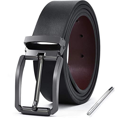 NEWHEY Cinturon Hombre Cuero Piel Hebillas Jeans Reversible Trabajo Traje Cinturones Clásico Negro Marron 125CM