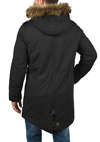 INDICODE Pulsoor Herren Parka Mantel Winter-Jacke Lang mit Kunstfell-Kapuze und Teddy-Futter aus hochwertigem Material Black (999)