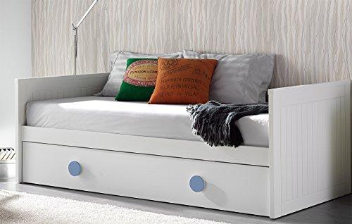 Venta-Muebles - Cama nido blanca mod. madrid 90 x 190 pomos azules
