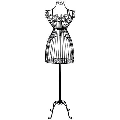 Songmics Maniquí de Metal Perchero Colgador para Ropa de señora del vestido - negro HRA09B