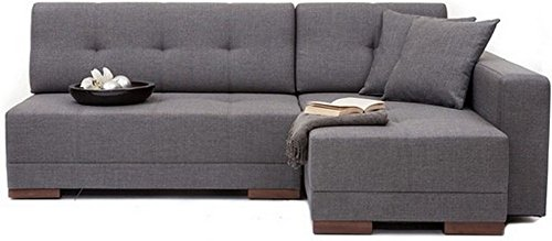 FabHomeDecor Apollo Four Seater L-Shaped Sofa (Grey)