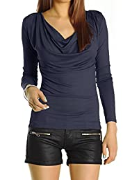 Bestyledberlin Damen Oberteil, Wasserfallausschnitt Longsleeve, Langarm Stretch Top, Basic Shirt t51p