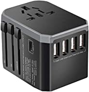 ibsun Universal Travel Adapter One International Wall Charger AC Plug Adaptor with 5.6A Smart Power and and 3.