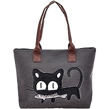 Bolso, Manadlian Nuevo Moda Mujer Bolsa de hombro Lindo bolso de gato Bolsa de lona Oficina Bolsa del almuerzo (42*28cm, E)