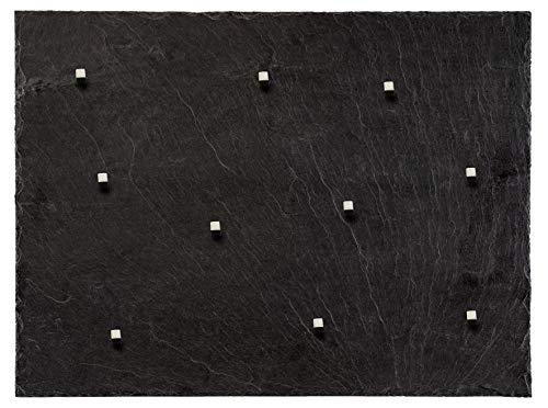 Schiefer Magnettafel (Echt Massiver Stein) ! 60 cm x 45 cm - Pinnwand + Kreidetafel inkl. 10 Magnete - 350-500 Millionen Jahre alter Schiefer aus Spanischem Bergbauvorkommen