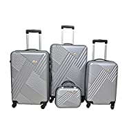 New Travel Hardside spinner luggage Set of 3 pieces with 3 digit number Lock -Silver