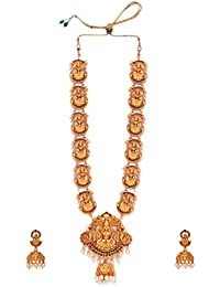 514a3d96f1 Rubans Gold Plated Faux Ruby And Emerald Studded Traditional Temple Divine  Lakshmi Handcrafted Jewellery Set For