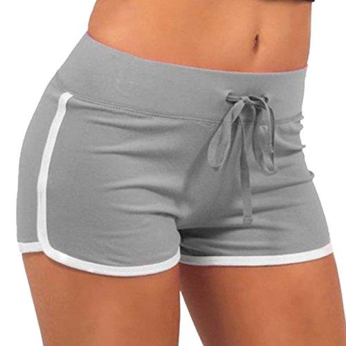 Ai.Moichien Süßigkeit Farben Frauen Sport Kordelzug Shorts Sommer Hosen Fitness Workout Yoga Kurze S-2xl Grau M - Booty Shorts