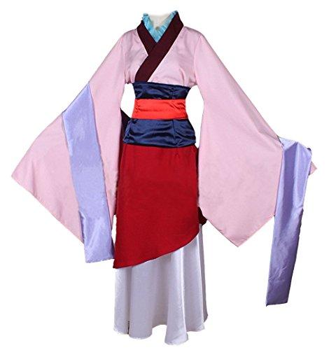 Tiny Time Damen Heldin Hua Mulan Coslay Kostüm Rosa Halloween Kleidung Kimono (M) (Mulan Kostüme Frauen)