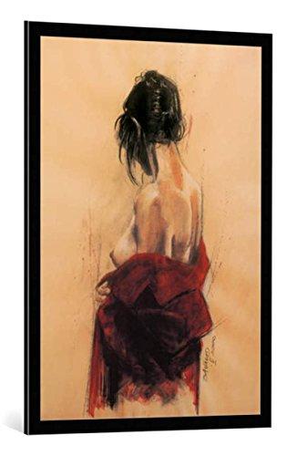 """Quadro con cornice: Monique Bavaud """"The Red Coat (Hommage à Evelyne)"""" - stampa artistica decorativa, cornice di alta qualità, 70x100 cm, nero / angolo grigio"""