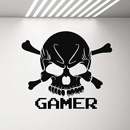 ZJfong Gamer Skull Vinile Adesivo Adesivo Decorazioni per camera da letto per ragazzi Xbox One Adesivi murali controller PS4 Rimovibile Nuovo arrivo 66x57cm