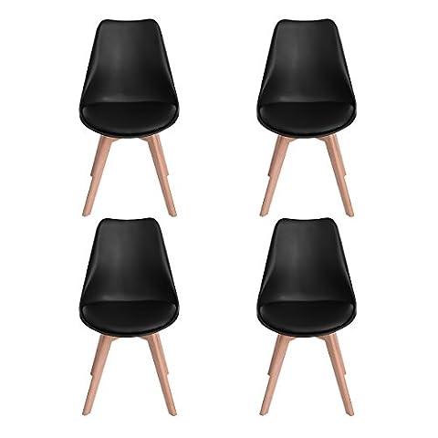 Ajie Lot de 4 Chaise de cuisine pour salle à manger design scandinave avec assise rembourrée avec pieds en bois de hêtre massif - Noir