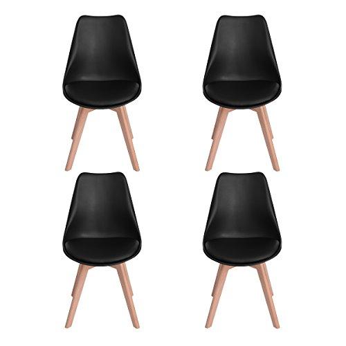 H.J WeDoo Lot de 4 chaises de Salle à Manger scandinaves, Chaises Rétro Tulip Bois de hêtre Massif- Noir