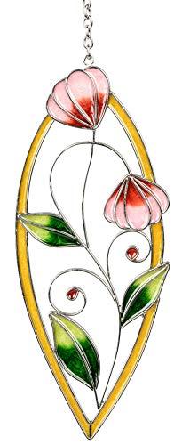 dekojohnson Moderne Fensterdeko Blume Fenster-Hänger Deko-Hänger Glasbild Tiffany Art Fensterbild Türdeko Grün 22cm