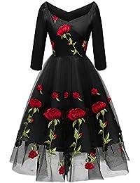 Molly Moda Vestido de Graduación Mujer Midi Bardot con Bordado de Rosas 84dff55a04d5