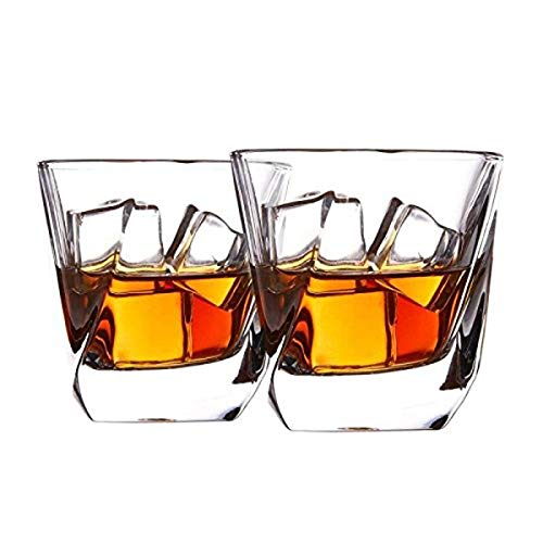 Cooko Whisky Gläser, Luxus Kristall Gläser Set, Non-Leaded Clarity Whiskyglas, Wein Zubehör,Set von 2 Gläser für Wein, Cocktails oder Saft (250ml/8.8oz)