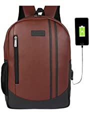 Fur Jaden Anti Theft Zipper 15.6 Inch Waterproof Laptop Backpack Bag with USB Charging Port 27 Ltrs Brown Casual Backpack (BM102_Brown)