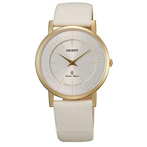 Orient Femme 35mm Bracelet Cuir Beige Quartz Cadran Argent Montre FUA07004W0