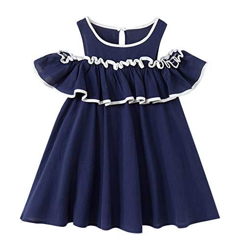 YWLINK MäDchen Kleidung Off Schulter Rundhals TräGerloser Bowknot Party Elegant Rüschen Prinzessin Mini Kleider(Marine,140)