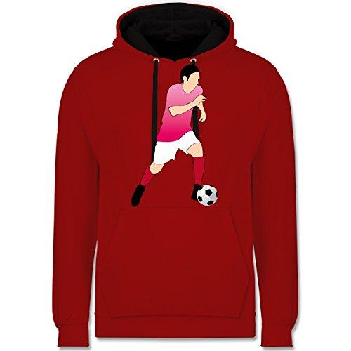 Fußball - Fußballspieler Ball Sprint - Kontrast Hoodie Rot/Schwarz