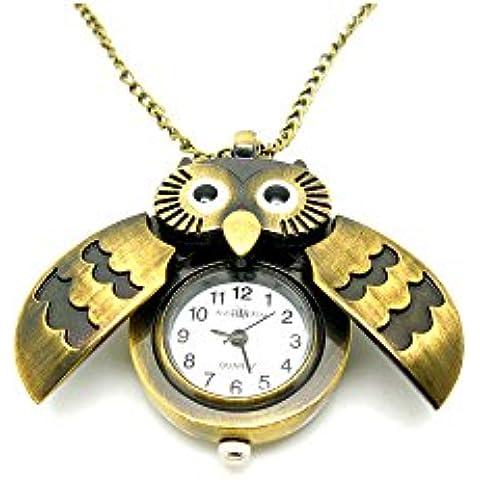 Reloj Collar de Cadena Larga de Colgantes de Búho Clásicos Liroyal