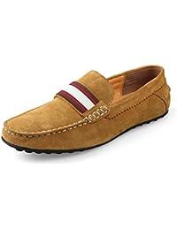 Minitoo Hombres de conducción nuevo nudo Suede Loafers Penny zapatos de barco, color Azul, talla 40 EU