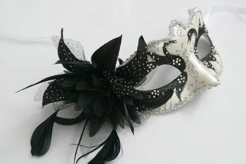 Schwarz und Silber Perlglanz Blume u. Federn Venezianische Maskerade Partei Karneval ()